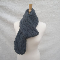 Charcoal Gray Scarf, Knit Scarf, Unisex Men Women, Wool Alpaca Acrylic, Textured design