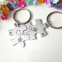 Long Distance Relationship, Couple Keychains, Gifts for Boyfriend, Personalized Keychains, Anniversary Gift for Girlfriend, Christmas Gift