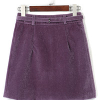 Purple Belt High Waist Fluffy Suedette A-line Skirt