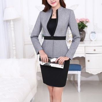 Formal Uniform Styles Professional Business Suits FemaleTops And Skirt 2015 Autumn Winter Women Blazers Sets Ladies Office S-4XL