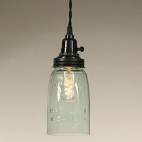 Mason Jar Pendant Lamp in Rustic Brown - Quart Size