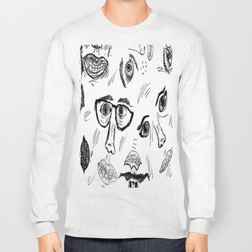 Faces Long Sleeve T-shirt by Yuval Ozery