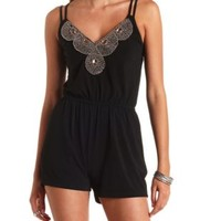 Strappy Beaded Bib Romper by Charlotte Russe - Black