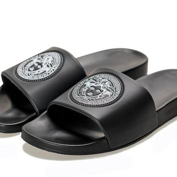 9c08f8a908a8 New Arrival Versace Classic Trible Black Men Women Slide Sandals