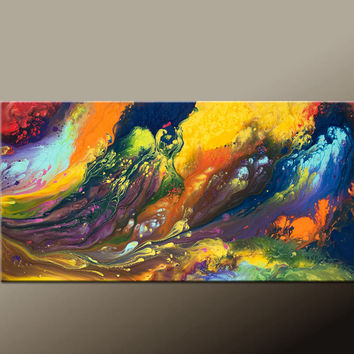 Abstract Canvas Art Painting - 48x24 Contemporary Original Canvas Art by Destiny Womack - dWo -  In the River of Dreams