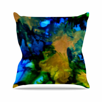 "Claire Day ""Relax"" Blue Yellow Throw Pillow"