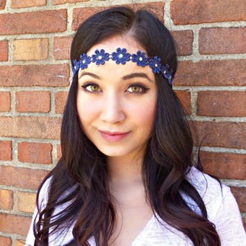Blue Flower Headband Flower Crown Hippie Headband Hair Accessories Floral Headband Bohemian Accessories