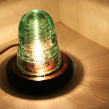 Sea Foam Green Beehive Telegraph Insulator Night Light ~ Upcycle Hemingray Desk Lamp, Accent Light : Hemingray (H.G.Co.)