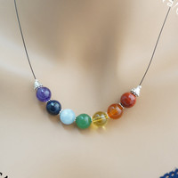 10mm 7 chakra stone necklace, multi color gemstone bar boho necklace