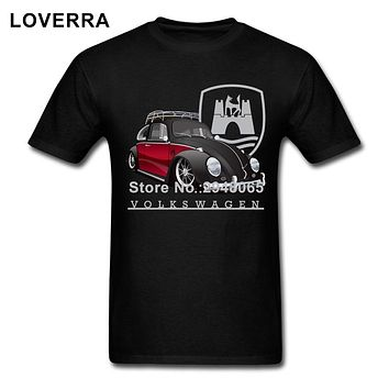Black And Red Volkswagen Car Man T-Shirt Summer O-Neck Tee Shirt Homme Short Sleeve Cotton TShirt Men Oversize Brand Clothing