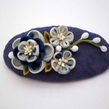 Handmade French Barrette, Blue Teal White plum blossoms, Kanzashi flowers, Hair barrette, Upcycled silk, Fabric flower, hair clip, OOAK