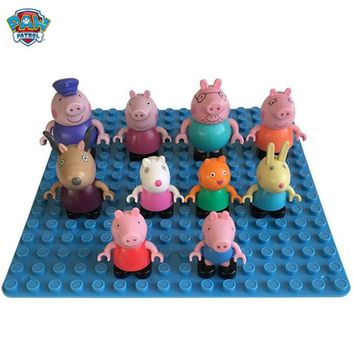 1Pcs Peppa Pig George Building Blocks Family Friends Teacher Dog Rabbit Cartoon Figure Toy movable joints high quality kid toy