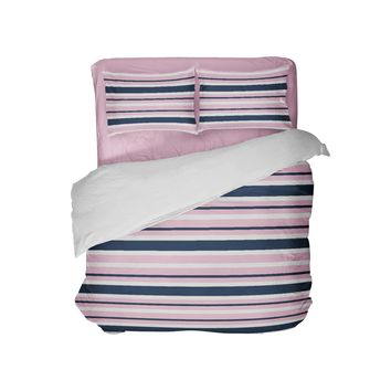 Pink and Blue Stripes Girls Comforter Set