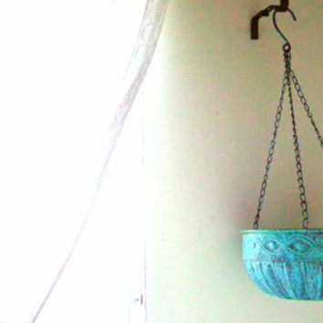 Metal Hanging Basket Copper verdigris rusty Aqua Mint distressed colorful Garden decor porch patio decor distressed metal planter