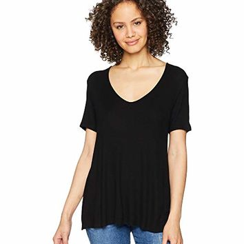 Michael Stars 2X1 Rib Short Sleeve V-Neck Swing Tee