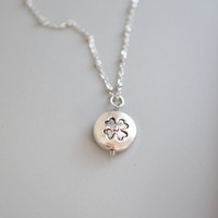 Four Leaf Clover Necklace,Silver Four Leaf Clover Charm,Sweet and Simple Leaf Necklace,Good Luck Necklace,Shamrock Holme,St. Patrick,Lucky