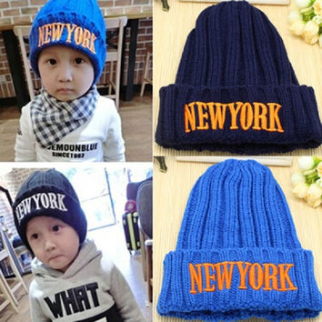 Baby Caps Knitted Letter New York Baby Hats For Boys Girls Children's Winter Caps Child Kids Beanie Hats
