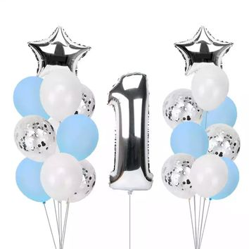 Giant Silver NUMBER 1 Foil Balloons Bouquet Party Balloons | Baby Shower| Boy's 1st Birthday Party Balloon | Boys Cake Smash Balloon