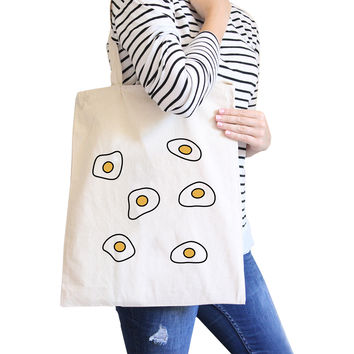 Fried Egg Pattern Natural Canvas Bag Shopper Bags For Food lovers