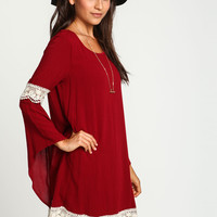 Burgundy Crochet Bell Crepe Dress