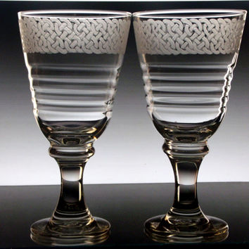 Celtic Knot Wine Glasses , Set of Two large wine goblets , Glassware