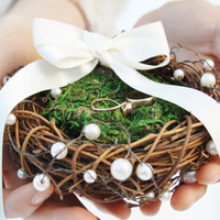 Ring bearer pillow Twig moss nest ring bearer pillow Rustic wedding ring bearer nest pillow Woodland wedding ring pillow Country wed TITANIA