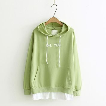 Japanese Lady Preppy All-match Thin Women Hoodie Korean Style Fashionable BF Style Hoodie Personal False Two Pieces Loose Hoodie