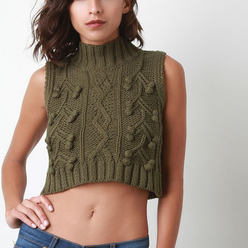 Cable Knit Turtleneck Sleeveless Crop Top