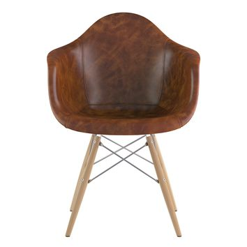 Mid Century Dowel Arm Chair  Weathered Whiskey