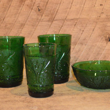 Vintage Green Glass Set including 3 Cups and a Bowl, Dark Green Glass Tumblers and Bowl, Drinking Glasses, Kitchen or Bathroom Display