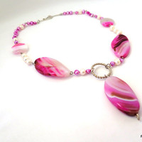 Pink agate necklace, pink gemstone statement pendant necklace, fine jewelry
