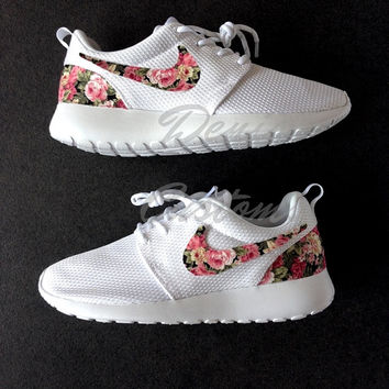 Nike Roshe Run One White Custom Pink Rose Floral Print