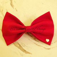 Solid Res Hair Bow with a Tiny White Heart