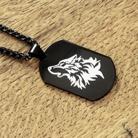 Black Reversible Wolf Tag in Rectangular or Round Shape on Black Viking Braid Chain Necklace