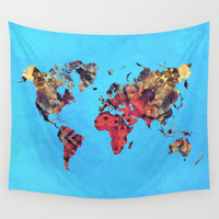 world map art 9 Wall Tapestry by Lionmixart