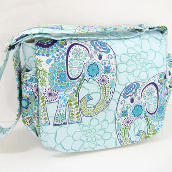 Blue Elephant Diaper Bag, Elephant Messenger Bag, Small Diaper Bag with Multiple Pockets