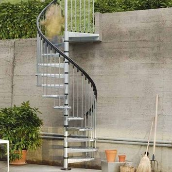 OUTDOOR GALVANIZED STEEL SPIRAL STAIRCASE CIVIK ZINK | FONTANOT SPA