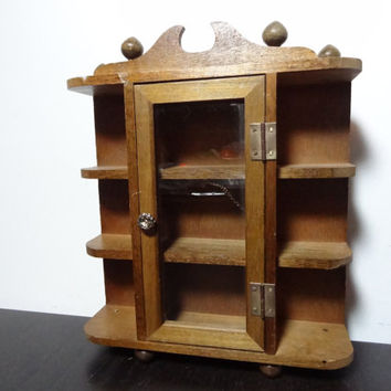 Vintage Small Wooden Display Wall or Table Top Cabinet/Shelf for Miniature Figurines