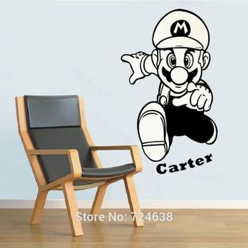 Super Mario party nes switch  Cartoon Wall Sticker With Personalized Name Wall Decal Art Stickers Children Nursery Bedroom Decorative AT_80_8