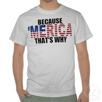 BECAUSE 'MERICA THAT'S WHY US Flag T-shirts from Zazzle.com