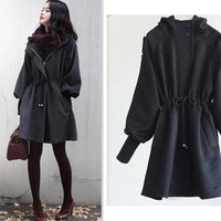 NEW  Fashion  Women's Slim WOOL Trench Coat Parka Jacket Outerwear