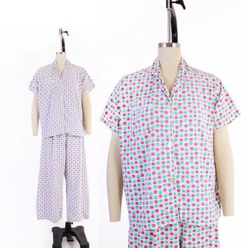 Vintage 50s Novelty PAJAMAS / 1950s SQUIRRELS Novelty Print Cotton Pajama Set Pants Top L