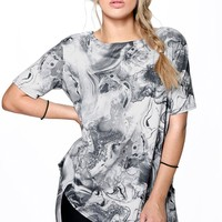 Plus Victoria Marble Print Asymmetric Top