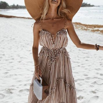 Tabitha Pinstriped Maxi Dress