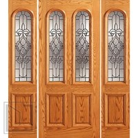 Prehung Mahogany, Arch Twin Lite Glass Door, Two Sidelights