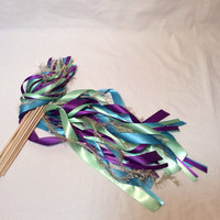 100 wedding wands peacock themed purple green turquoise gold frayed metallic sparkling ribbon send off streamers