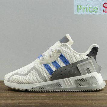 2018 New Mens Adidas Originals EQT Cushion ADV White Blue Athletic Shoes BY9508 sneaker