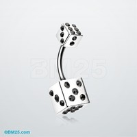 Double Dice Iced Belly Button Ring