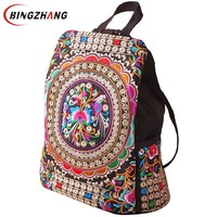 women handmade flower Embroidered Bag National trend canvas embroidery Ethnic backpack Travel Bags schoolbag backpacks L4 978-in Backpacks from Luggage & Bags on Aliexpress.com | Alibaba Group