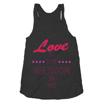 Love Is The Religion In Me, Pink, Cute, Athletic Black American Apparel Racerback Tank Top
